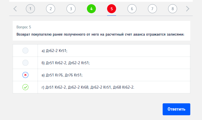 тест по бухгалтерским проводкам онлайн